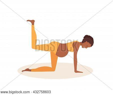 Balancing Table Yoga Pose. Pregnant African American Woman Doing Yoga. Cheerful Positive Young Woman