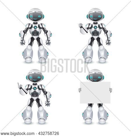 Robot Different Poses Innovation Technology Science Fiction Future Cute Little Characters Set Design
