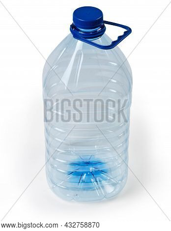 Empty Large Blue Transparent Plastic Bottle For Drinking Water With Screw Cap And Carrying Handle On