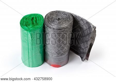 Plastic Disposable Biodegradable Garbage Bags Of Different Sizes In Two Rolls Green And Gray Colors