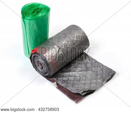 Plastic Disposable Biodegradable Garbage Bags Of Different Sizes Green And Gray Colors In Two Rolls