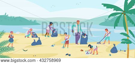 Children Volunteers Collecting Trash On The Beach. Man With Kids Cleaning Up The Coast. Vector Illus