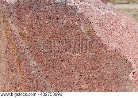 Two Adjacent Flat And Torn Edges Of The Large Block Of Red Granite, Texture, Background