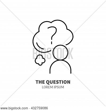 Self Knowing Line Icon Concept. Human With Cloud With Quetion Mark Outline Stroke Element. Psycholog