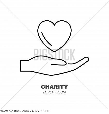 Giving Love Line Icon Concept. Human Hand With Heart Outline Stroke Element. Psychologist Counseling