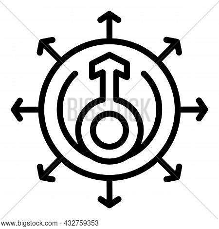 Gender Rights Icon Outline Vector. Social Balance. Equal Society
