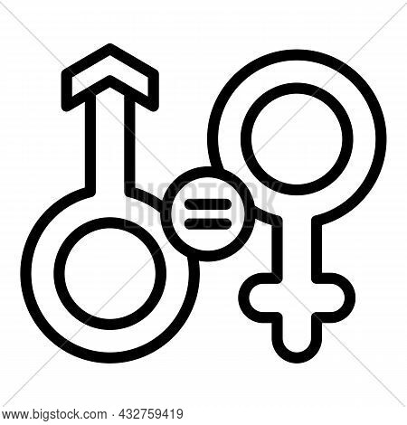 Gender Equality Rights Icon Outline Vector. Couple Discrimination. Social Justice