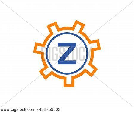 Gear Logo On Letter Z. Initial Z Gear Letter Logo Design Template. Z Gear Engineer Logo