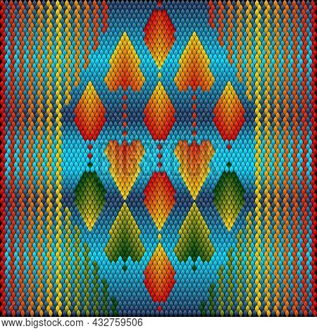 Ornament, Background, Pattern Is Made Up Of The Main Colors Of Autumn.   Blue Sky, Bright Colors Of