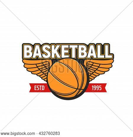 Basketball Ball With Wings Icon Of Sport Game Vector Design. Orange Rubber Or Leather Ball Of Basket