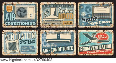 Air Conditioning And Ventilation Metal Rusty Plates, Split Systems And Home Appliances, Vector Vinta