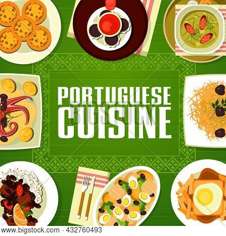 Portuguese Cuisine Restaurant Menu Cover With Vector Frame Of Fish, Meat Dishes With Desserts. Bean