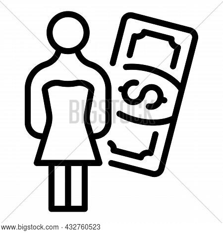 Salary Stereotype Icon Outline Vector. Gender Equality. Woman Discrimination