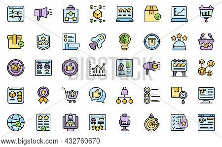Featured Product Icons Set. Outline Set Of Featured Product Vector Icons Thin Line Color Flat Isolat