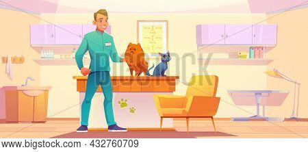 Vet Clinic Cabinet With Animals And Doctor. Veterinarian Man With Dog And Cat In His Office, Pets Me