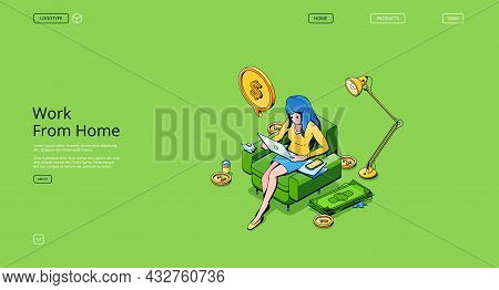 Work From Home Isometric Landing Page. Woman Freelancer Working On Laptop Sitting On Armchair At Dom