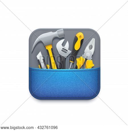 Online Tools Icon. User Technical Support Service, Repair, Diagnostics And Maintenance Application O