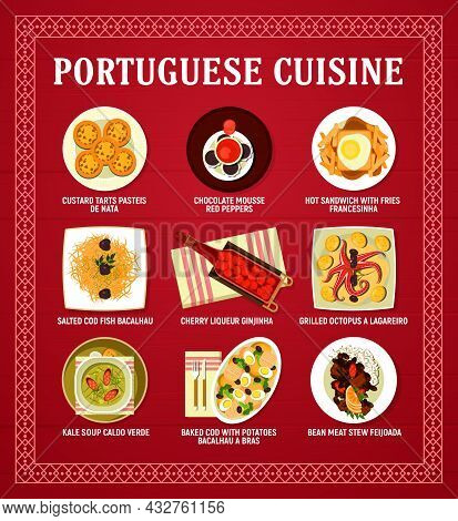 Portuguese Cuisine Menu Vector Card With Meat, Seafood And Vegetable Restaurant Dishes. Cod Fish Bac