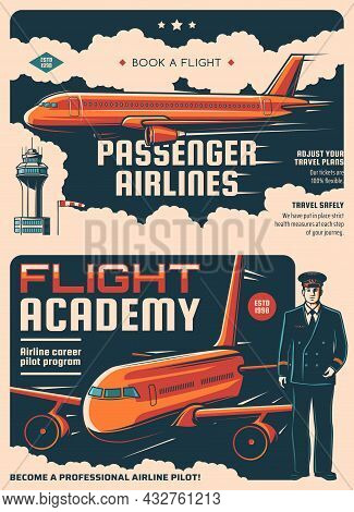 Passengers Airlines And Flight Academy Retro Posters. Air Flight Industry, Airplane Tickets Booking