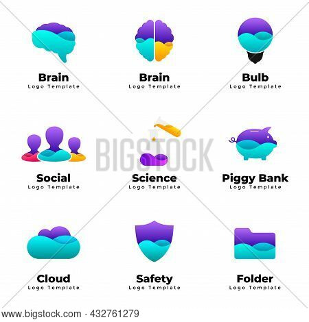 Abstract Vector Logo Templates Set. Human Brain Symbol. Idea Light Bulb. People Sign. Piggy Bank Ico