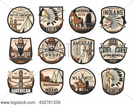Wild West, American Western Icons Of Saloon, Cowboy And Longhorn Bull Skull, Vector. Native American