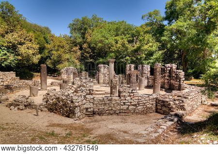 Panoramic View To Remains Of The Baptistery Ruins Of Ancient Town Of Butrint Near Sarande, Albania