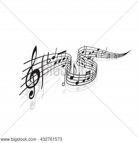 Musical Wave With Vector Notes Of Sheet Music And Shadows. Black Swirl Of Music Staff Or Stave With