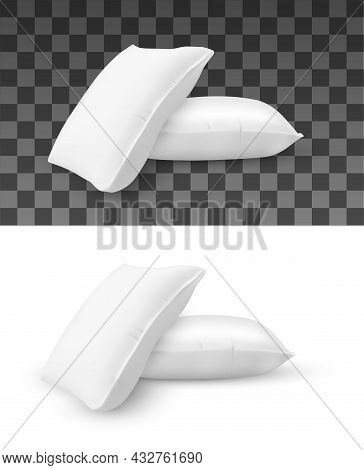 Pillow Stack Vector Mockup Of Realistic Cushions. Pile Of White Rectangle Bed Pillows Isolated 3d Ob