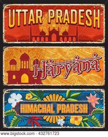 Uttar Pradesh, Haryana And Himachal Pradesh Indian States Vintage Plates Or Banners. Vector Aged Tra