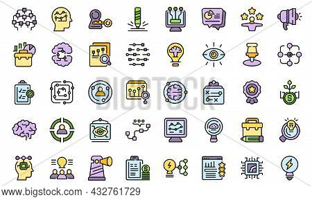 Insight Icons Set Outline Vector. Generation Brainstorm. Curiosity Problem Color Flat