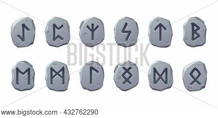 Rune Stones With Sacred Glyphs For Game Design Isolated On White Background. Vector Cartoon Set Of A