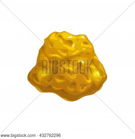 Cartoon Golden Nugget, Ore Mining Or Game Interface Element. Vector Yellow Sparkling Stone, Piece Of