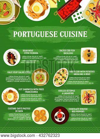 Portuguese Cuisine Restaurant Menu Dishes, Vector Food Of Caldo Verde Soup, Egg Tart Pasteis, Grille