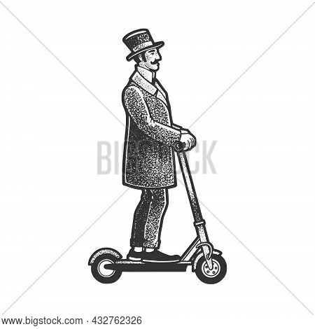Old Fashioned Gentleman Rides Electric Scooter Sketch Engraving Vector Illustration. T-shirt Apparel