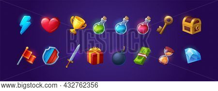 Set Of Game Icons, Shield, Sword, Lightning Flash And Heart, Golden Cup, Magic Potion Flasks, Gold K