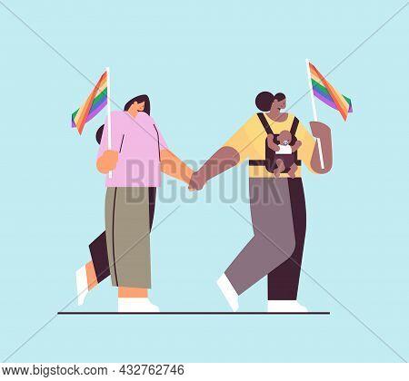 Mix Race Female Parents Walking With Little Child Lesbian Family Transgender Love Lgbt Community Con