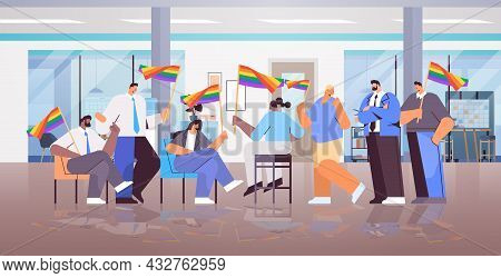 Mix Race Businesspeople Holding Lgbt Rainbow Flags Gay Lesbian Love Parade Pride Festival Transgende