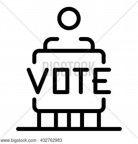 People Vote Icon Outline Vector. Ballot Box. Government Democracy