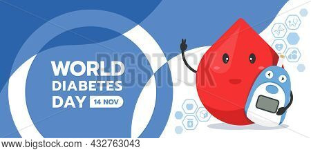World Diabetes Day Banner Drop Blood Charector Hold Blood Glucose Meter And Icon Of Medical Devices