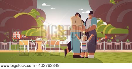 Mix Race Female Parents Walking Outdoor With Little Child Lesbian Family Transgender Love Lgbt Commu