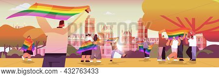 Mix Race People Holding Lgbt Rainbow Flags Gay Lesbian Love Parade Pride Festival Transgender Love C