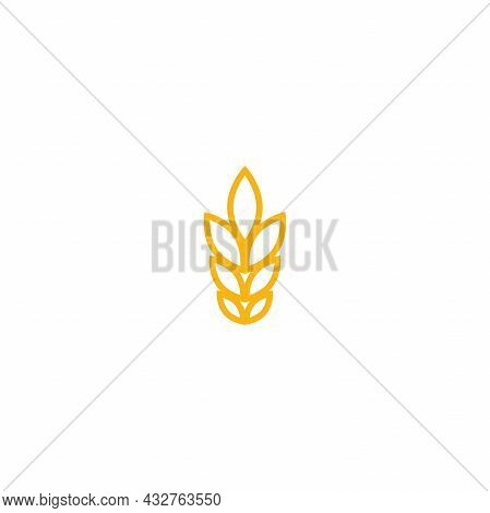 Ear Of Wheat, Barley Or Rye. Gold Yellow Icon Isolated On White. Eco Button. Agriculture, Nature Fir
