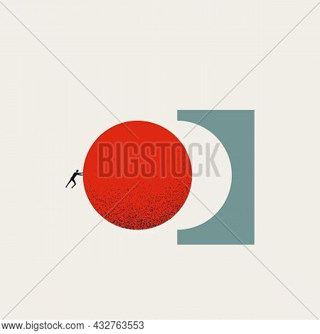 Business Achievement And Success Vector Concept. Symbol Of Reaching Objective, Goal And Motivation.