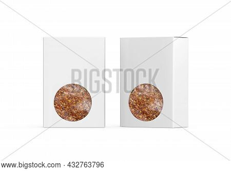 Transparent Window Paper Box For Chilli Flakes, Chilli Flakes Packaging Box Mock Up Template On Isol