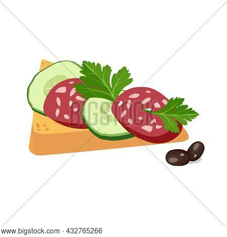 Sandwich Icon For Classic Hotel Breakfast. Toast Bread With Cucumber And Sausage. Brunch Healthy Sta