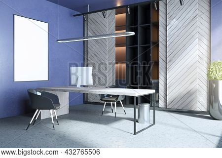 Modern Blue And Concrete Home Office Interior With Workplace, Empty White Mock Up Poster, Bookcase A
