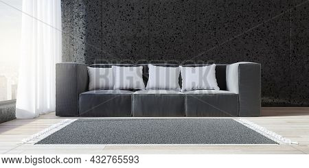 Bright Black Living Room Interior With Window And City View, Wooden Flooring, Daylight, Couch With P