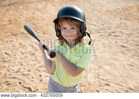 Child Playing Baseball. Batter In Youth League Getting A Hit. Boy Kid Hitting A Baseball.
