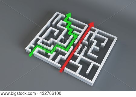Abstract Maze With Arrows On Gray Background. Easy Way, Solution And Complication Concept. 3d Render