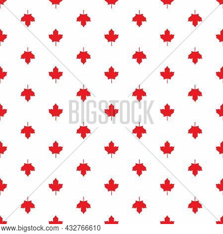 Seamless Pattern With Shabby Red Maple Leaves. Vector Eco Background. Autumn Wallpaper. Holiday Harv